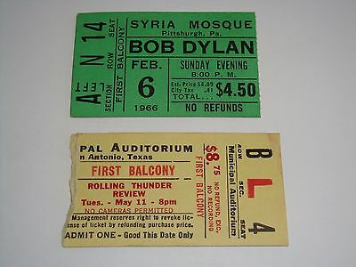 ROLLING THUNDER REVUE BOB DYLAN 2 AUTHENTIC 1966 and 1976 CONCERT TICKET STUBS