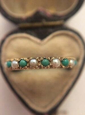 Vintage Unusual Yellow Gold Turquoise And Pearl Full Eternity Band Ring