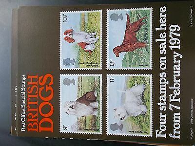 Royal Mail A4 Post Office Poster 1979 Dogs Old English Sheepdog Irish Setter