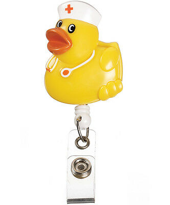 Retractable Yellow Nurse Duck Medical Badge Delux 3-D ID Tag Clip Holder New
