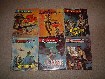 6 Very Early Old Commando Comic Books All Under 800 War Stories Bundle Job Lot