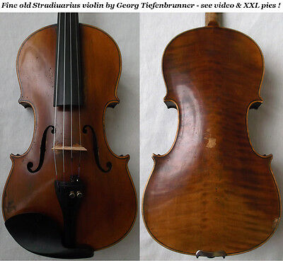 OLD GERMAN 19th C VIOLIN Tiefenbrunner video ANTIQUE MASTER バイオリン скрипка 205