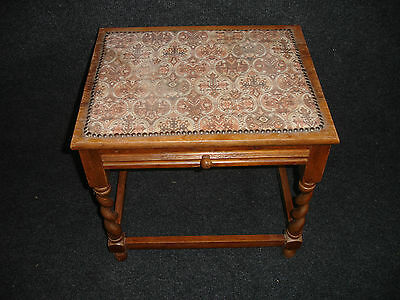 Antique Vintage Retro Wooden Sewing Needlework Craft Box Side Table With Drawer