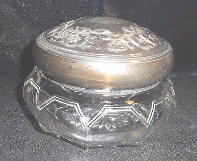Antique Silver Floral Top & Cut Glass Crystal Vanity Jar