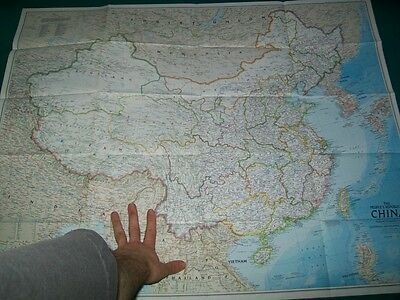 Large Vintage National Geographic Map of China 2 Sided History Chinese People