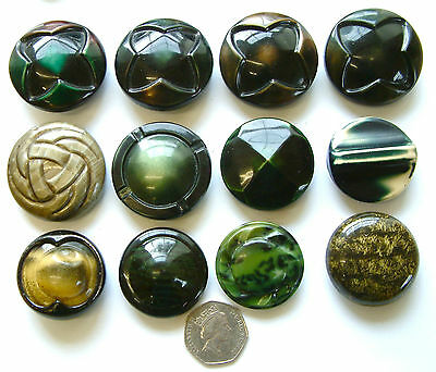 12 Vintage LARGE Art Deco Celluloid Green Tight Top Buttons, 38mm to 45mm