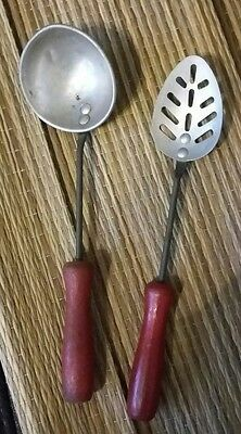 Vtg 50's Child's Kitchen Pretend Play RedPaint Wood Handle Slotted Spoon & Ladle