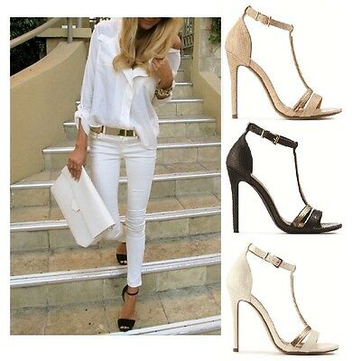 Womens Ladies Evening Party Buckle Stiletto High Heel Strappy Sandals Shoes Size