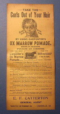 Old Antique c.1890's - OX MARROW POMADE - BLACK AMERICAN Advertising FLYER - KY.