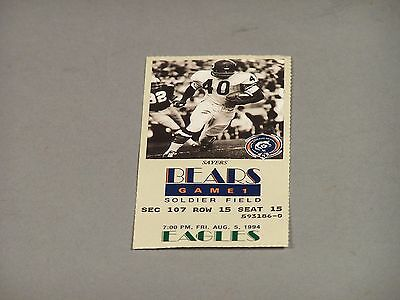 Chicago Bears Game Ticket with Gale Sayers vs Eagles - Aug  5, 1994