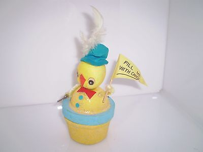 Vintage Easter Chick Candy Container Cardboard Chenille Felt Mica Made In Japan