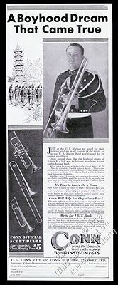 1930 USMC Marines band Robert E Clark photo Conn trombone vintage print ad