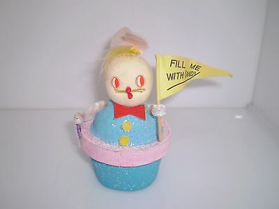 Vintage Easter Bunny Candy Container Cardboard Chenille Felt Mica Made In Japan