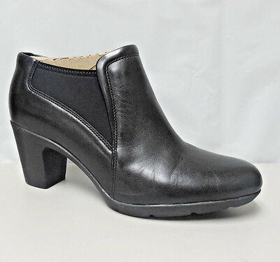 AR2089 Pre-owned Women's Clarks 11538 Lucette Diva Black Leather Booties 10 M