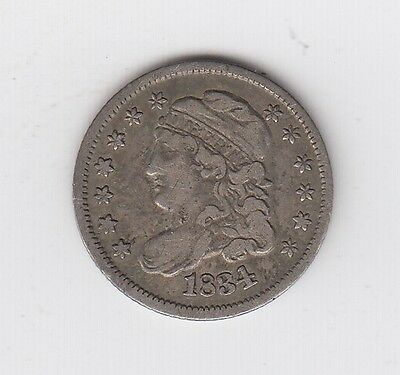 1834 Us Capped Bust Five 5 Cent Silver Half Dime Nickel Coin Nice