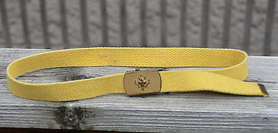 """Vintage 1980S CANADA Boy SCOUTS Young Child BELT Metal Buckle Yellow 30"""" Maple"""