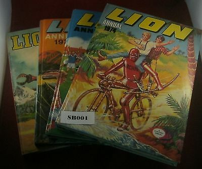 Lion AnnualS x4, 1969, 1972, 1973, 1974, Fair Condition Ref SB001