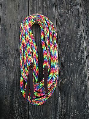 "22' x 9/16""  Yacht Rope Mecate Reins BACKSPLICED RAINBOW Red Blue Purple Lime"