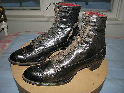 Victorian Ankle Boots Lace Up Shoes  Short Top Large Size Black Leather France