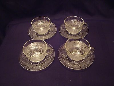 4 Anchor Hocking Depression Glass Clear Sandwich Crystal Cup & Saucer Sets