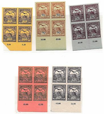 Hungary #90, #96, #98-100 Imperforate blocks of four MNH value $3000.00