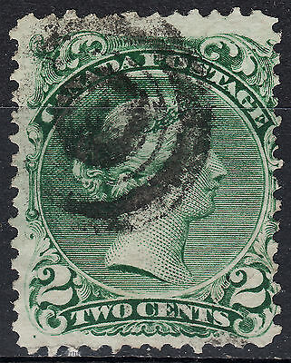 Canada 2c Large Queen, Scott 24, F used, catalogue - $50