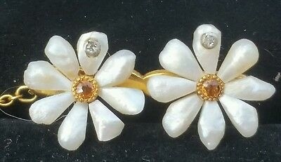 Antique 10k Gold Pearl Diamond Citrine Daisy Brooch Pin Estate Jewelry Ladies