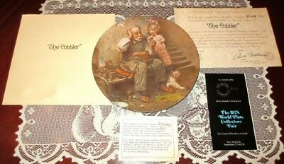 Norman Rockwell The Cobbler Collectible Plate 2nd Issue Heritage Collection COA