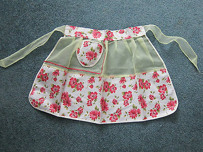 1    NWT  Retro Rose 1/2  Apron    * Red & Pink Floral & Yellow Sheer Fabric *