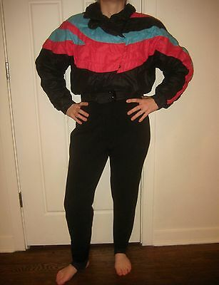 Vtg 70s 80s Color Block ROFFE Onesie Womens 12 Snow SKI BIB Suit Coat Snowsuit