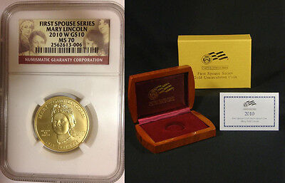2010 First Spouse Mary Lincoln Ngc Ms 70 *low Mintage * Box & Coa * Low Price
