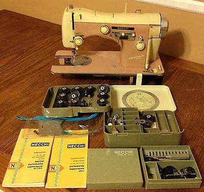 Necchi Supernova Ultra Vintage Sewing Machine w/ Attachments Accessories Box Lot