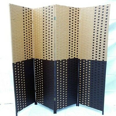 1X Double Sided Knitted Room Divider 4 Panels Folding Screen - Black&Khaki