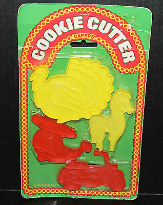 Vintage Cookie Cutter Capers Set (4) Turkey, Horse, Helicopter, Motorcycle ~ NEW