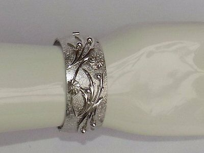 Vtg Whiting & Davis Silver 3D Flower Spray Wide Bangle Hinged Bracelet