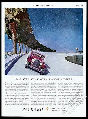 1933 Packard Twin-Six red car on test track art vintage print ad