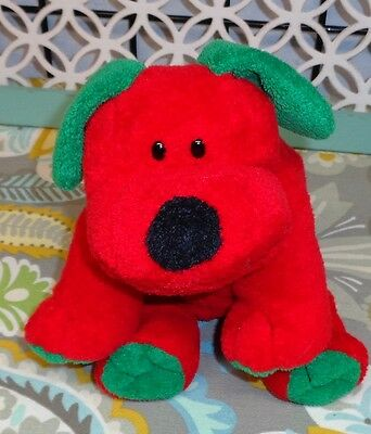 "9"" Ty Pluffies JINGLES Puppy Dog Red Green TyLux Plush 2006"