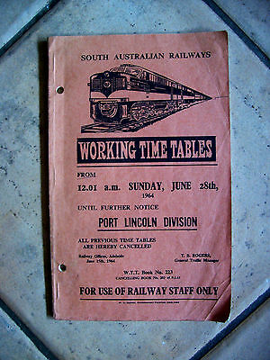 Sar Working Time Tables Portli Lincoln Division 1964 - No Reserve 1 Cent Start