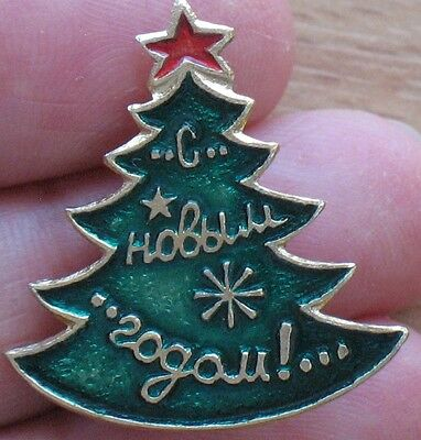 Russian Pin Badge Buttons CHRISTMAS NY New Year Xmas Metal USSR Star Fir Tree