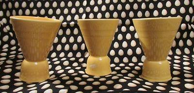 Set of 3 Vintage Harlequin Double Egg Cups Sunny Yellow Fiesta Homer Laughlin