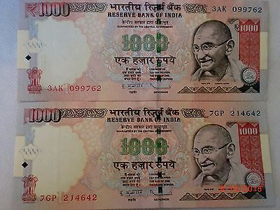 -India Paper Money-2 'm.gandhi' Currency Notes-2012- Rs.1000/- 1 With Symbol#e21