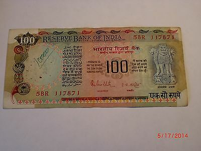 - INDIA PAPER MONEY -  1 OLD RUPEES 100/- NOTE - RN MALHOTRA - RARE # E12ab