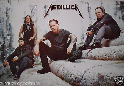 """METALLICA """"GROUP SITTING ON STEPS"""" POSTER FROM ASIA - Heavy Metal Music"""