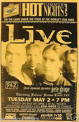 LIVE /PETE DROGE 1995 KNOXVILLE CONCERT TOUR POSTER-Ed Kowalczyk, Alt Rock Music