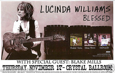 "LUCINDA WILLIAMS / BLAKE MILLS ""BLESSED"" 2011 PORTLAND CONCERT TOUR POSTER-Blues"