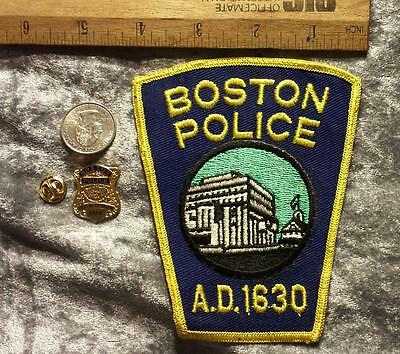 1980's Boston Police Sew on Insignia Patch with Gold Colored Mini Badge Set