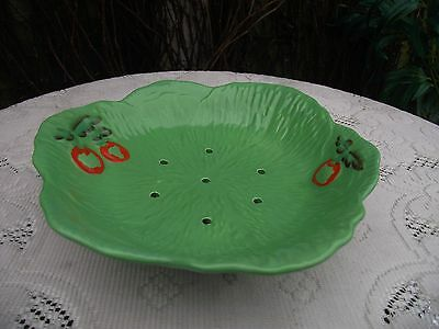 Vintage Beswick Ware Pottery Green Lettuce Leaf & Red Tomato Salad Drainer