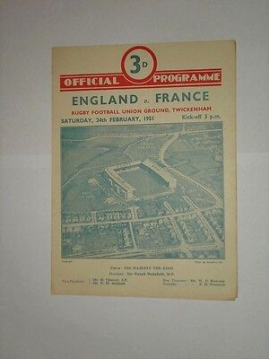 England France Rugby Union Programme 1951
