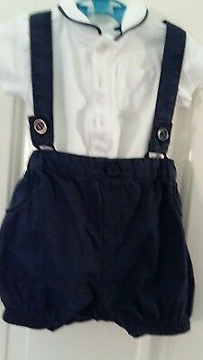 baby boys clothes NEXT short dungaree and polo vest top set 3 6 months