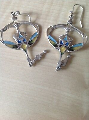 Silver and enamel earings by Pat Cheney. excellent condition